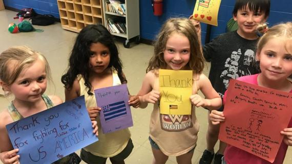 Our campers wrote letters to the troops.