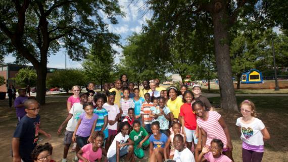 Skinner Summer Day Campers with Mayor Emmanuel