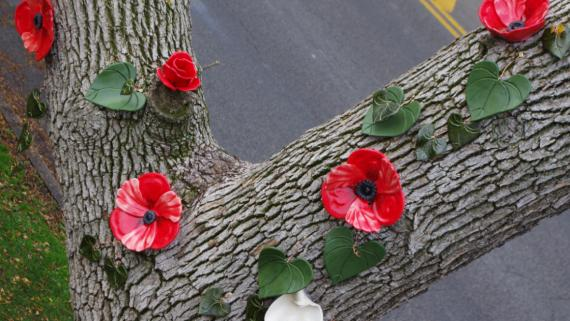 Ceramic flowers affixed to a dead tree.