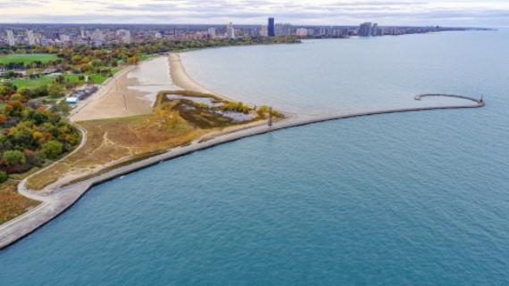 Montrose Beach as seen from the bird's eye view in fall.