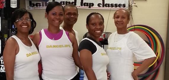 Park supervisor with her adult exercise class.