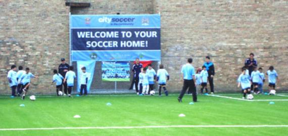 City Soccer kids playing at Haas Park
