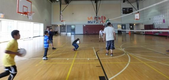 Participants playing a great game of volleyball