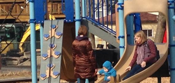 Families enjoying the playground at Jacob Playlot Park.