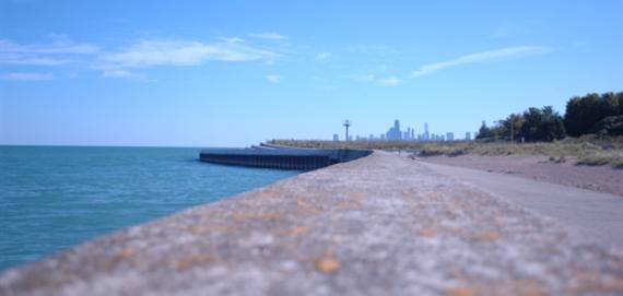 View of Chicago skyline from Montrose Beach.