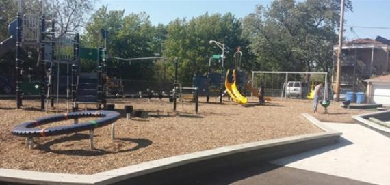 Overview of playground at Langdon Playlot Park