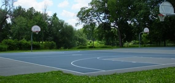 The beautiful outdoor basketball court at Sherman Park