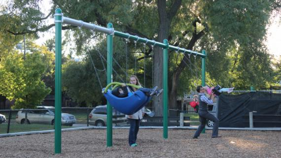 Swings. Chicago Plays! Renovated playground at California Park
