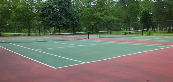 The dazzling tennis court at Sherman Park