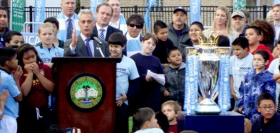 Mayor Rahm Emanuel speaking at City Soccer event at Haas Park