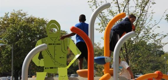 kids enjoying the new playground at Riis Park