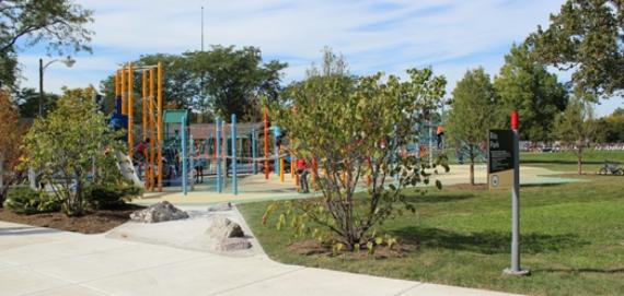 Overview of new playground at Riis Park