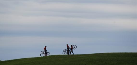 Taking a rest for biking along the Lakefront at Crickethill.