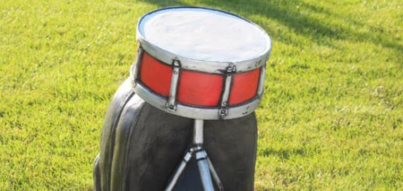 Snare drum sculpture honoring Vonzell Banks
