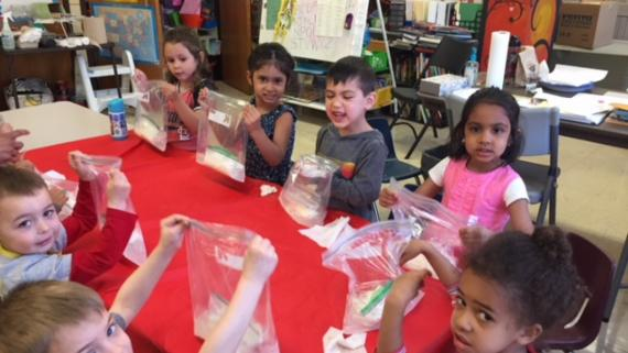 Our kiddie college is making ice cream!