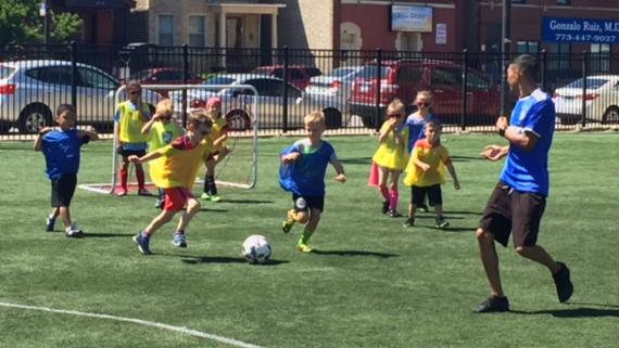 Kids playing soccer at Haas Park