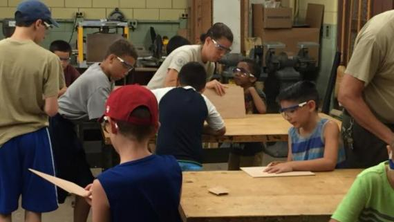 Kids getting creative in our woodshop at Shabbona Park