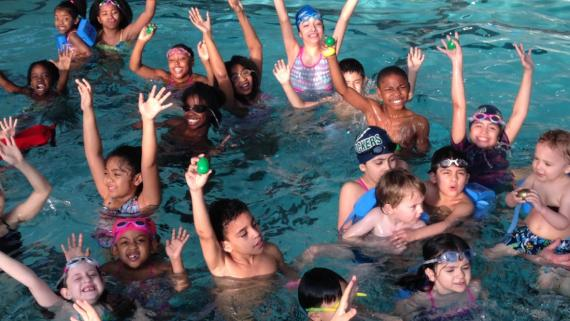 Egg hunts in the pool at Sheridan