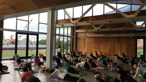 Yoga in the boathouse