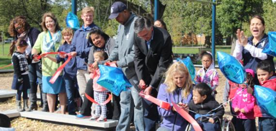 Ribbon cutting at the new playground!