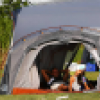 A father and child relax in their tent at a Family Camping event in the parks.